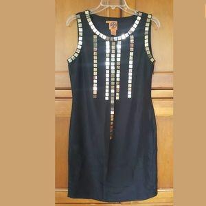 Tory Burch Sheath Dress Black 100% Silk Sequins